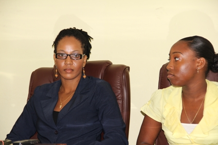 Nevis Island Administration/Medical University of the Americas Health Science Scholarship awardees (l-r) Ms. Kamara Louisy and Ms. Earline Pemberton at the announcement ceremony
