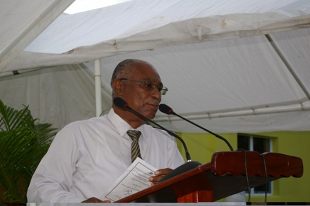 Premier of Nevis, Hon. Joseph Parry giving brief remarks