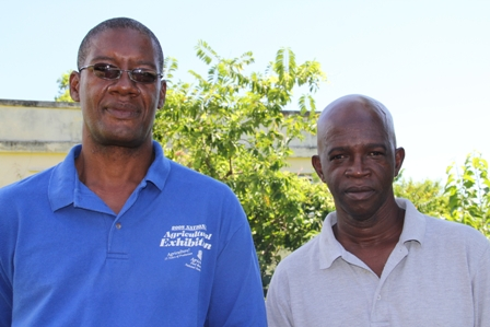 (L-R) Director of Agriculture on Nevis Mr. Keithley Amory and Cotton Officer in the Department of Agriculture Mr. Ruben Vyphuis