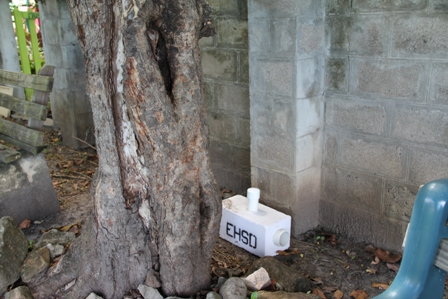 A bait station placed on the grounds of the Museum of Nevis History in Charlestown