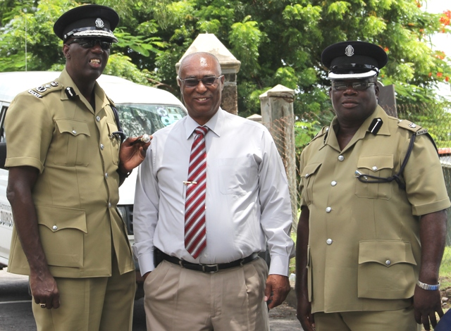 (l-r) Commissioner of Police Mr. Celwyn Walwyn, Premier of Nevis the Honourable Joseph Parry and Superintendent of Police Mr. Hilroy Brandy
