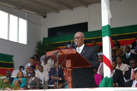 Premier of Nevis, Hon. Joseph Parry delivering Independence address Picture