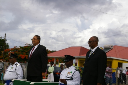Deputy Gov. General, his Honour  Eustace John and Premier Parry at saluting dias