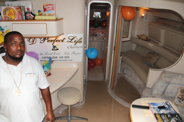 Member of crew Mr. Jerry Cornelius facilitates tour of D' Perfect Life