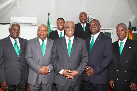 Premier of Nevis Hon. Joseph Parry (second from left) with his colleagues (L-R) Legal Advisor in the Nevis Island Administration Mr. Herman Liburd, Deputy Premier Hon. Hensley Daniel, Hon. Robelto Hector, Cabinet Secretary Mr. Ashley Farrell (back row L-R) Hon. Dwight Cozier and Hon. Carlisle Powell