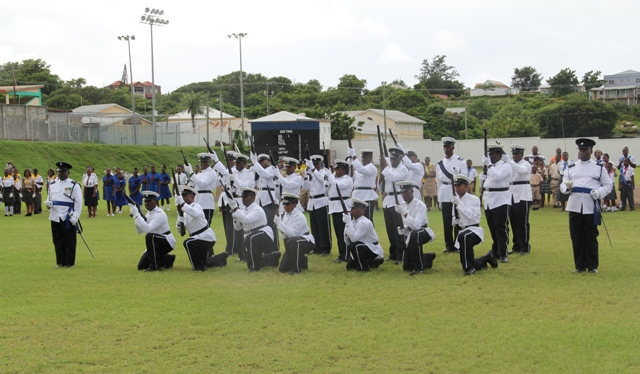 Members of the Royal St. Christopher and Nevis Police Force at St. Christopher and Nevis' 28th anniversary of Independence parade