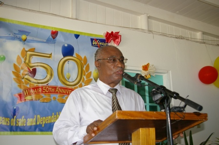 Premier of Nevis, Hon. Joseph Parry celebrating 50 years of WINAIR