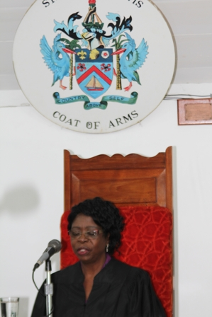 Newly sworn in President of the Nevis Island Assembly Mrs. Christine Springette