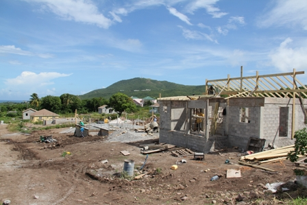 A section of ongoing home construction at Colquhoun Housing Development in Jessups Village