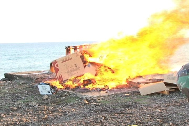 Illicit material including cannabis and cocaine on fire at Long Point