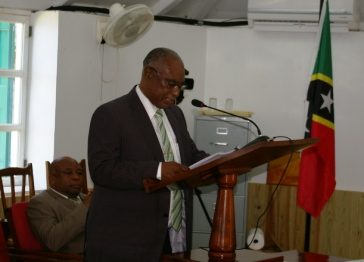 Premier of Nevis, Hon. Joseph Parry in the House of Assembly