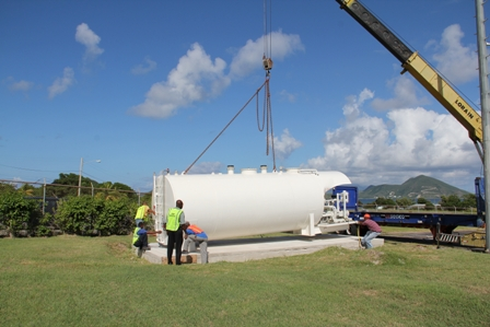 The new US$78,000 AV-Gas tank being installed at the specially built base at the New Castle Airport
