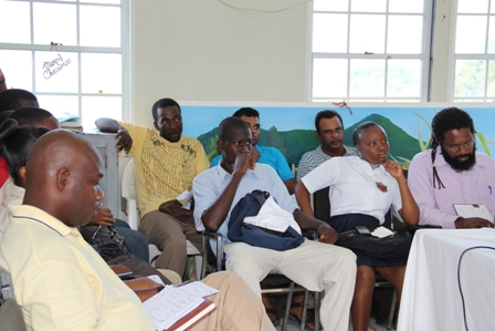 (Front row) Students from the Charlestown Secondary School accompanied by at Teacher and (back row) and farmers on Nevis at the Hydroponics Nutrients Workshop in Prospect