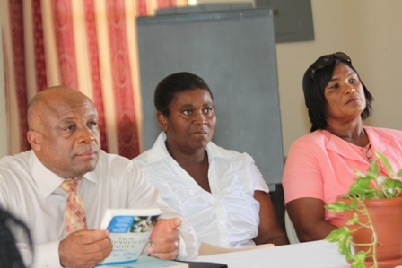 At the headtable at the Single Parents Support Group Parenting Workshop (L-R) Minister of Social Development on Nevis Hon. Hensley Daniel, Coordinator of the Single Parents Support Group Mrs. Grace Manners and Group member Ms. Josette Browne