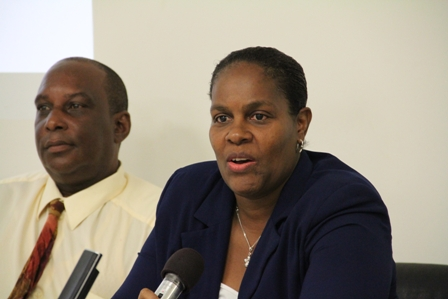 (L-R) Chief Environmental Health Officer on St. Kitts Mr. Elton Morton and Chief Medical Officer on Nevis Dr. Judy Nisbett