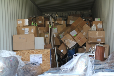 More medical supplies, equipment and furniture in the 40ft. container from Global Links