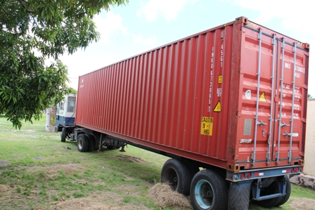 The container arriving at the Alexandra Hospital Grounds on October 20th, 2011