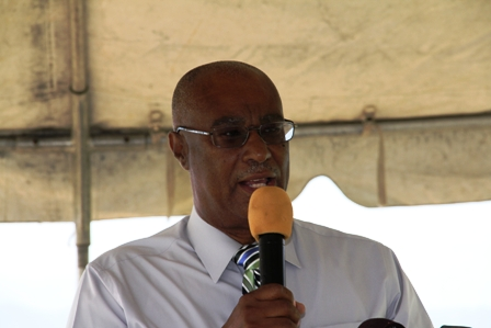 Premier of Nevis, Hon.Joseph Parry presenting his address at the Marina Ground breaking ceremony