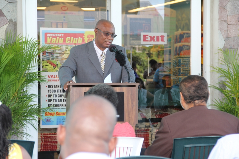 Premier of Nevis, Hon.Joseph Parry making his address at the opening ceremony of the Nevis Horsford's Valu Mart IGA
