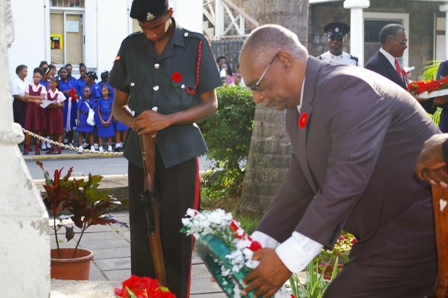 Premier of Nevis, Hon.Joseph Parry laying wreath at Remembrance Service 2010 (FILE PHOTO)