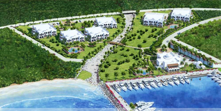 Drawing of the proposed Tamarind Cove Marina Development in Nevis