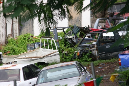 Derelict vehicles make breeding grounds for rodents, a challenge for Public Health Officers in St. Kitts and Nevis (File Photo)