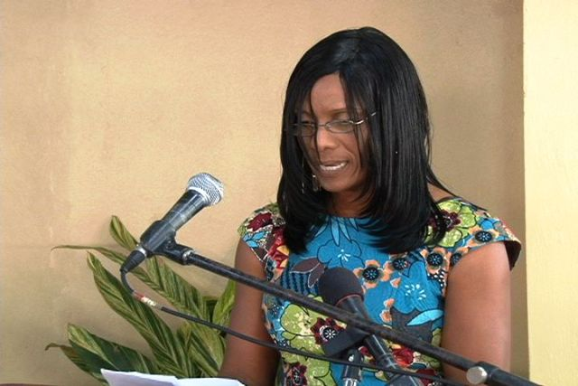 Market vendor, Mrs. Amethyst Claxton-Liburd, thanks the Nevis Island Administration for renovating the former Charlestown Public Market