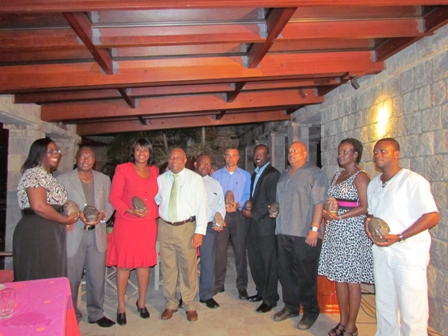 Awardees at the Nevis Division of the St. Kitts/Nevis Hotel and Tourism Association Awards ceremony with Deputy Premier of Nevis Hon. Hensley Daniel (fourth from left)