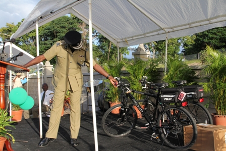 Police Commissioner Celvin G. Walwyn of the Royal St. Christopher and Nevis Police Force with the new Police bicycles for use by uniformed officers of the Charlestown and the Cotton Ground Police Stations