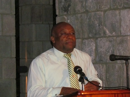 Deputy Premier of Nevis Hon. Hensley Daniel at the awards ceremony at Old Manor Hotel hosted by the Hotel and Tourism Association's Nevis Division