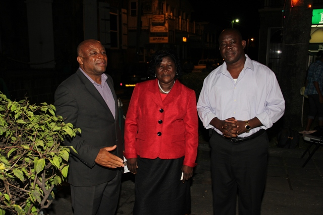 (l-r) Minister of Social and Community Affairs the Honourable Hensley Daniel, Patron Ms. Arlene Williams and Area Representative for the St. Paul's Parish the Honourable E. Robelto Hector at Charlestown's Christmas tree lighting ceremony