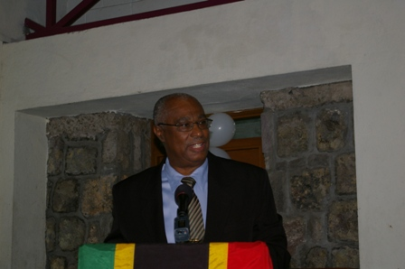 Premier of Nevis, Hon. Joseph Parry speaking at the ceremony