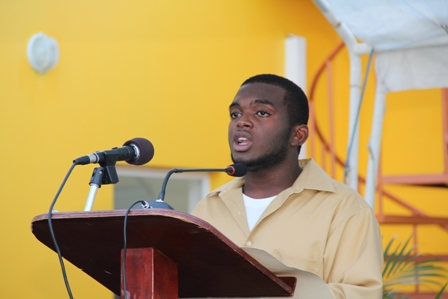 Mr. Jeson Leblanc a youth of the Cotton Ground Community as he gave a youth's perspective on the use of the new community centre