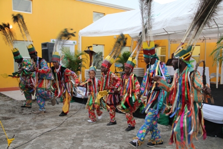 Young Masqueraders performing during the official opening ceremony of the Cotton Ground Community Centre on December 16th, 2011