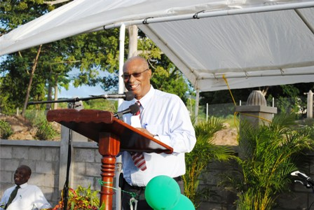 Premier of Nevis, Hon. Joseph Parry making remarks at Cotton Ground Police Station