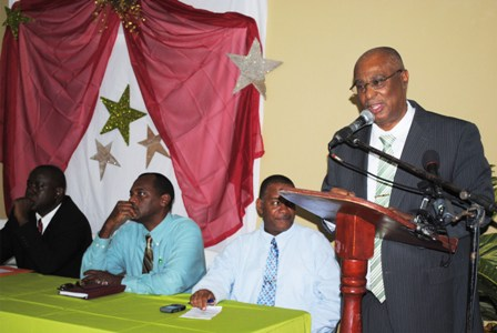 Premier Parry making the address to his right are Mr Eric Evelyn who was the Master of ceremonies, Dr Kelvin Daley (PS Ministry of Agriculture), and Hon Robelto Hector, Minister of Agriculture and Parliamentary Representative for Charlestown