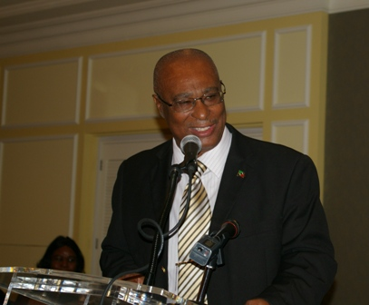Premier of Nevis and Minister of Education making a brief address