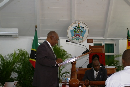 Premier of Nevis. Hon.Joseph Parry in the House of Assembly