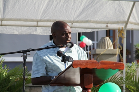 Director of Projects in the Nevis Island Administration Mr. Denzil Stanley presenting an overview of the Cotton Ground Police Station Project