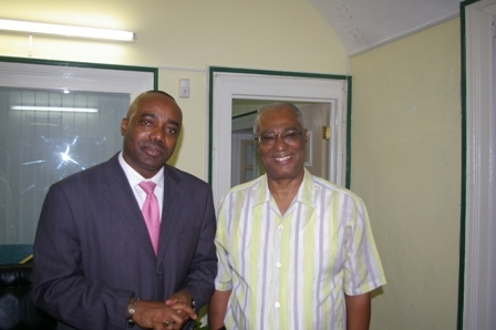 Dominica Minister Hon. Blackmoore and Premier of Nevis, Hon. Joseph Parry at his Bath Plain hotel office