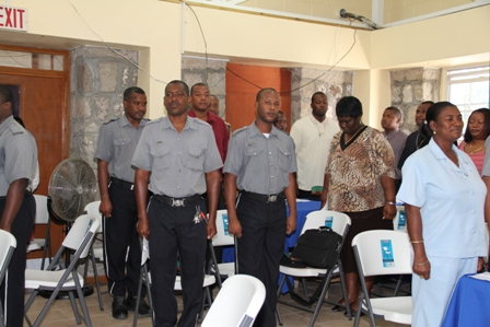 Police Officers stationed in the Royal St. Christopher and Nevis Police Force Nevis Division singing the National Anthem at the start of the Programme