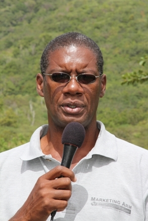 Director of Agriculture in the Department of Agriculture on Nevis Mr. Keithley Amory on an island wide field trip with other top Agriculture Officials on Nevis