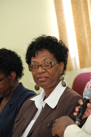 Permanent Secretary in the Premier's Ministry, Nevis Island Administration Mrs. Joslyn Liburd at a recent press conference hosted by Deputy Governor General His. Honour Eustace John, to launch activities to commemorate Queen Elizabeth II's Diamond Jubilee on Nevis