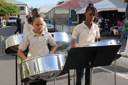Members of the Nevis Pan Ensemble at the official opening of Tourism Week 2012 in Charlestown
