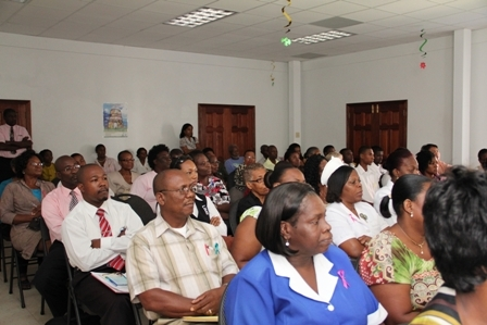 A section of the packed hall of attendees at the Oncology Symposium hosted by the Ministry of Health in conjunction with Pink Lily Cancer Care at the St. Pauls Anglican Church Hall