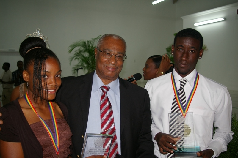 Premier of Nevis, Hon. Joseph Parry and Sports persons of the Year Miss Daniel