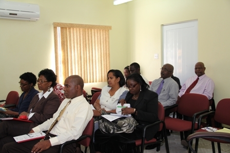A section of those present at the press conference hosted by Deputy Governor General His Honour Eustace John at the Nevis Island Administration's Ministry of Finance conference room on Thursday February 16, 2012