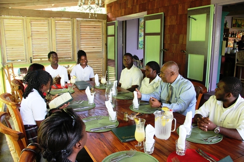 Nevis Debaters getting ready to have lunch with Premier of Nevis, Hon. Joseph Parry