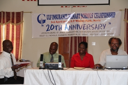 Head table at the press conference for the 2012 Gulf Insurance Primary School Championship (l-r) Nevis Amateur Athletic Association Vice President Mr. Wakely Daniel, Permanent Secretary in the Ministry of Youth and Sports Mr. Alsted Pemberton, Gulf Insurance Ltd. Representative Mrs. Lorraine Browne and President of the Nevis Armature Athletic Association Mr. Lester Blackett