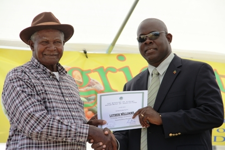 Minister of Agriculture on Nevis Hon. Robelto Hector (r) presents over a certificate of Appreciation to Brown Hill Fisherman/Farmer Mr. Luther Williams at the opening ceremony of the 18th annual Agriculture Open day hosted by the Department of Agriculture under his patronage